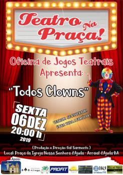 panfleto Teatro na Praça: 'Todos Clowns'